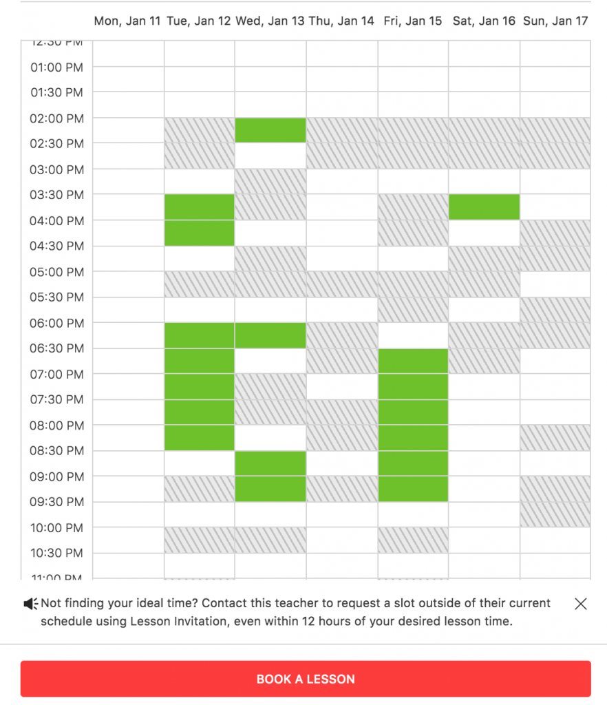 lesson schedule and availability image