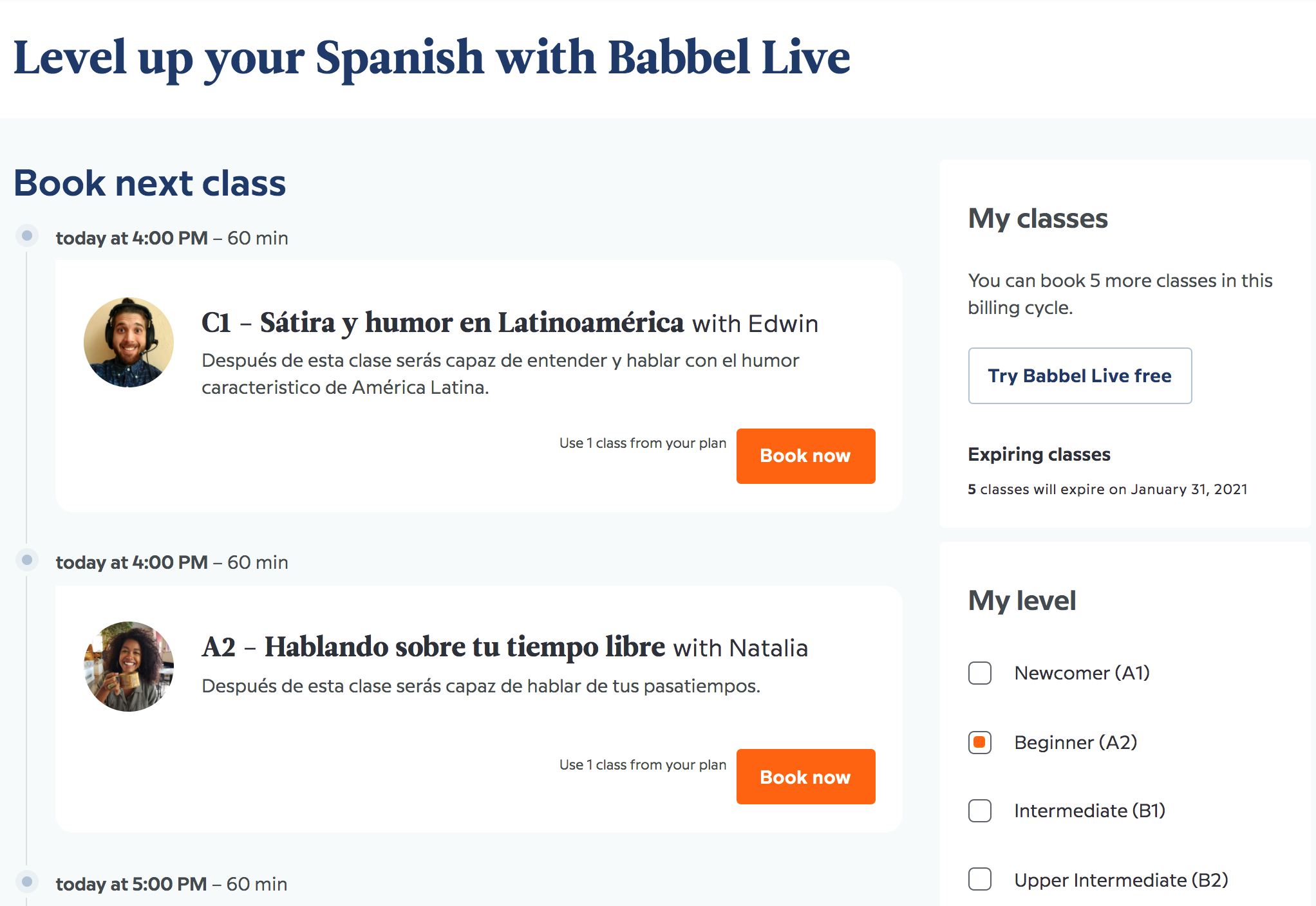 image of babbel-app dashboard