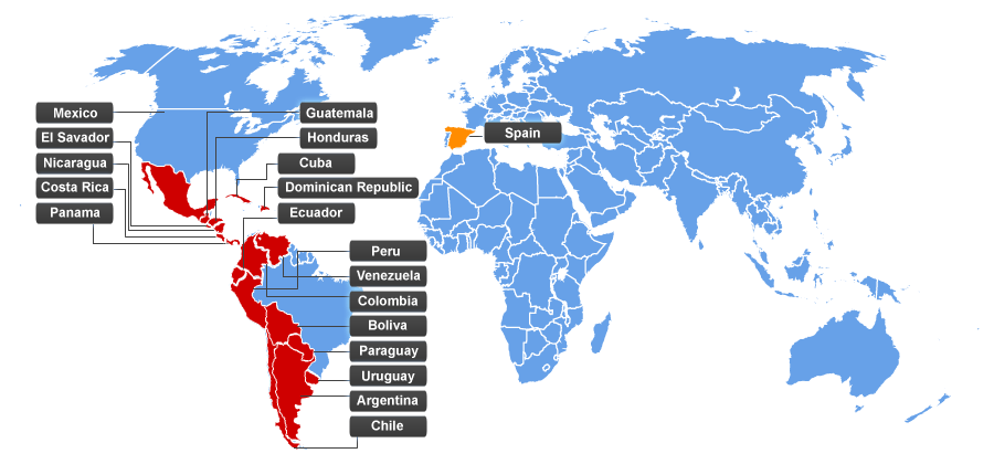 a map of Spanish speaking countries