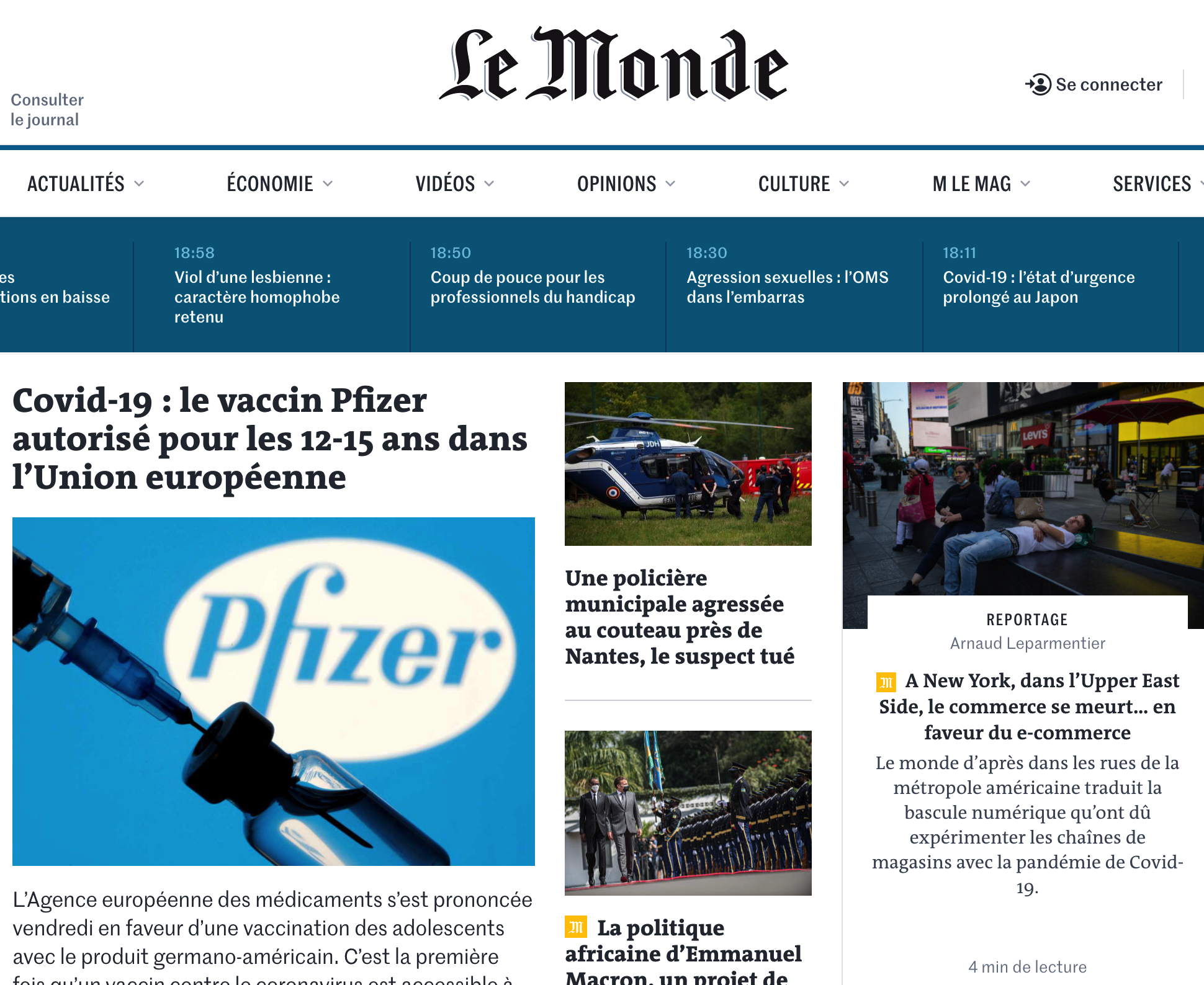 an image of a French newspaper homepage