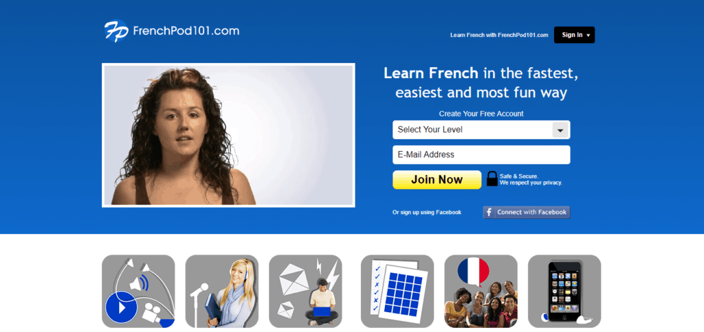 an image of frenchpod101 homepage