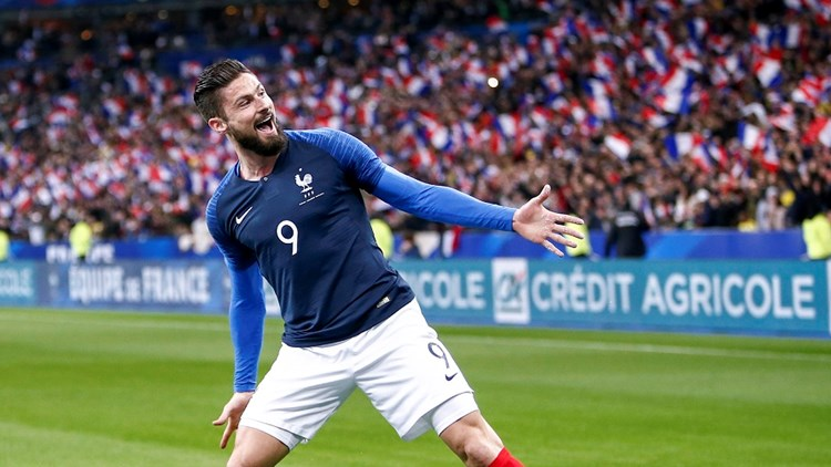 An image of a French soccer player in the French national team