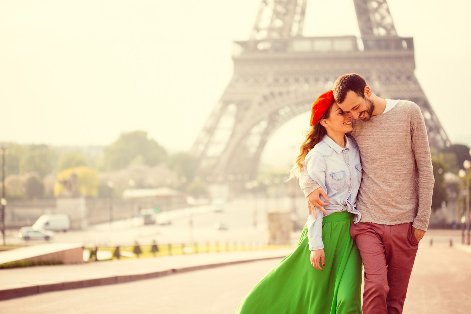 Couple by the Eiffel Tower