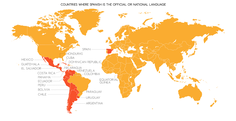 Image of map of Spanish speaking countries