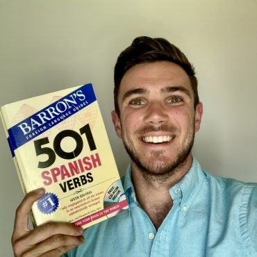 image of blog author with book on 501 Spanish verbs